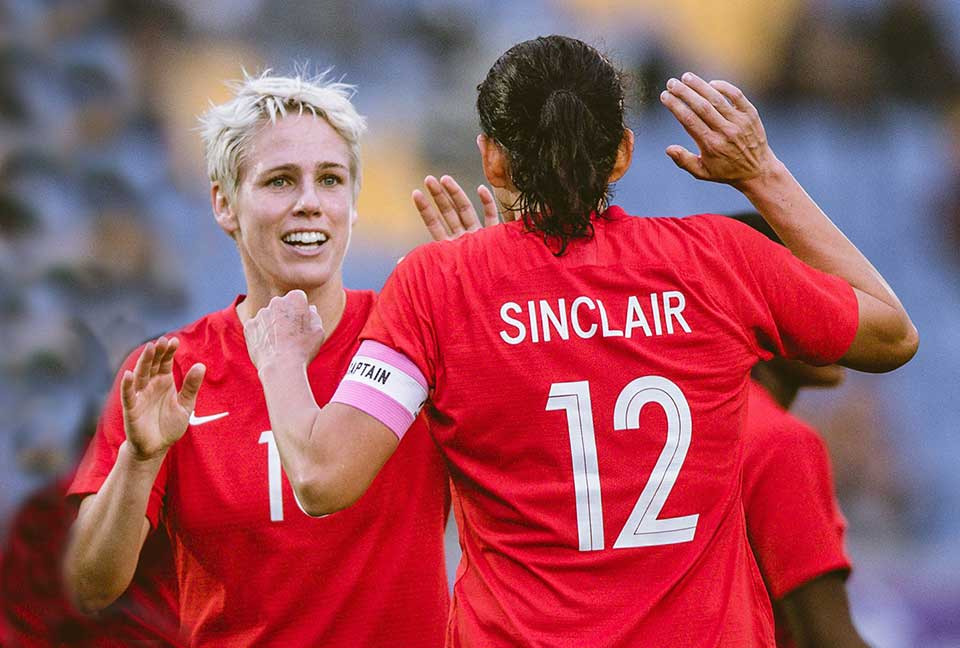 Sophie Schmidt and Christine Sinclair