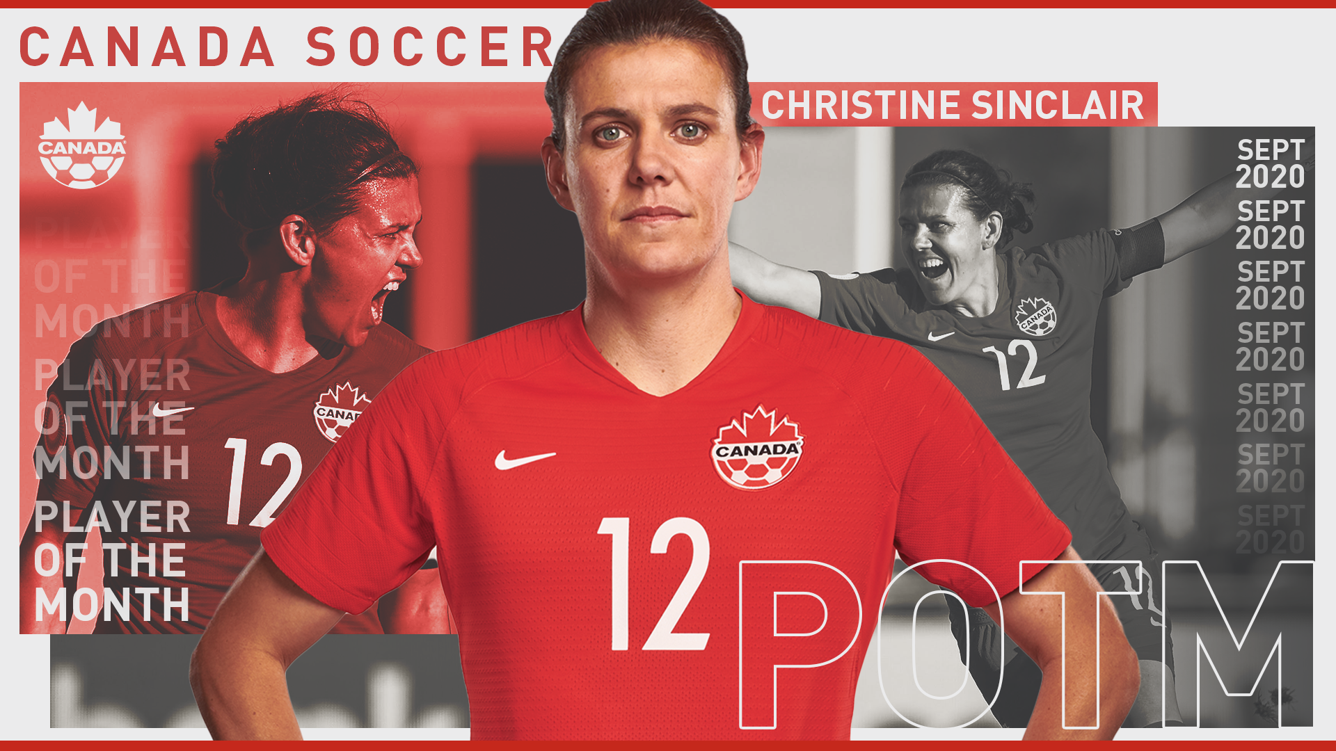 Christine Sinclair, Player of the Month
